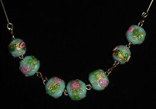 Pail blue pink rose lamp work Art Deco glass bead necklace Venetian glass