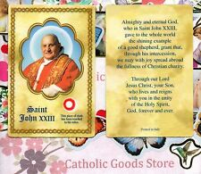 Pope Saint St. John XXIII with Relic and Prayer - Relic Paperstock Holy Card