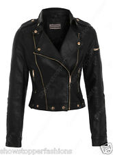 NEW Womens BIKER JACKET Crop FAUX LEATHER Ladies Coat Size 8 10 12 14