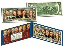 THE FOUNDING FATHERS of the US Colorized Obverse $2 Bill US Genuine Legal Tender