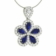 Natural Blue Sapphire & Diamond Flower Pendant / Necklace in White Gold- 1.97 Ct