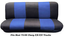 Mesh Black/Blue FULL SIZE BENCH Seat Cover,Fits Most 88-99 Chevy F/S P/U Trucks.
