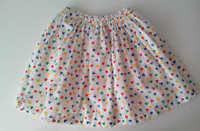 Polycotton Skirt White with primary coloured clover pattern waist 20in  Handmade