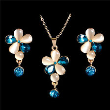 18K Gold Filled Austrian Crystal Colorful Necklace Pendant Earrings Jewelry Set