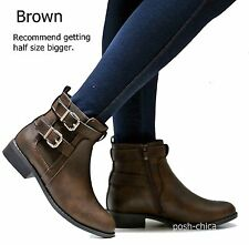 New Women TMu Black Tan Brown Western Ankle Booties Low Heel Boots 5.5 to 10