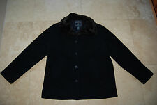 Navy Blue Wool AMERICAN EAGLE OUTFITTERS Buttoned Coat w/Faux Fur Collar Medium