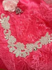 DH25 Crystal Rhinestone Neckline Collar Applique Silver Beaded Bridal Sash Patch