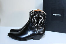 sz 9 US / 42 SAINT LAURENT Black Western Baranilos Santiag Cowboy Boot MEN Shoes