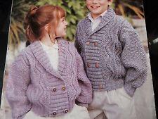 "Knitting Pattern Childrens Boy Girl Double Breasted Cardigan Aran 26-34"" Vintage"