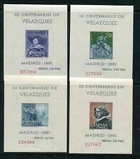 SPAIN 1961 VELAZQUEZ PAINTINGS ART MNH Set MINI SHEETS 4 Items