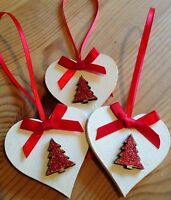 3 X Handmade Christmas Decorations Shabby Chic Wood Heart Tree Bows Red Glitter