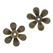 Antique Brass Filigree Six Petal Flower Bead End Caps 18mm - Pack of 2 (C43/14)