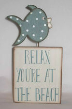 Primitive Wooden Fish Block Sign - Relax Your At The Beach - New RW8381