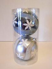 Aqua White Silver Flower 5 In Ball Ornament Shatter Resist Christmas Decoration