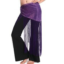 Belly Dance Costume Sequins Long Tassel Belly Dance Belt Hip Scarf Wrap