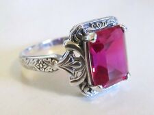 Ruby Sterling Silver Engraved Ring Size 7 Vintage Art Deco Style