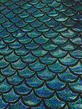 Turquoise  4 Way Spandex Lycra Mermaid  Fish Scale Hologram Fabric By The Yard