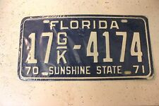 Vintage NOS 1970-71 FLORIDA SUNSHINE STATE 17GK-4174 BLUE License Plate Rare