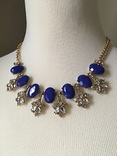 NWT J.Crew 100%Authentic STONE ACCENT  Crystal/bistro blue NECKLACE With Bag!