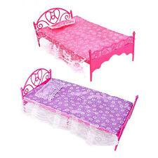 Plastic Miniatures Bedroom Furniture Bed for Barbie Dolls Dollhouse Gracious