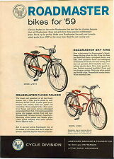 1959 ADVERT 4 PG AMF Roadmaster Bicycle Bike Pedal Car Weapons Carrier Tractor