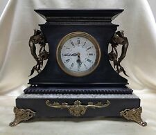 Gorgeous Large Antique European Style Marble Clock w. Ornate Angel Handles