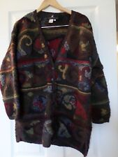 Peruvian Connection Wool Long Thick Cardigan sweater Sz M