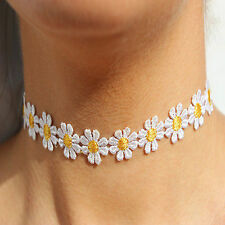 New Daisy Choker Necklace Flower Lace White Vintage Charm 90s Boho Hippy Charm