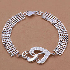 925 Silver Plated Heart Bracelet Bangle & Zircon Women Fashion jewelry UK Seller