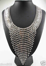 New elegant Lady Statement crystal multi chunky chain charm silver necklace 842