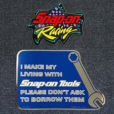 """Snap-on Sticker Decal """"I Make My Living..."""" & Snap-on racing sticker 4.5""""x3.5"""""""