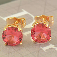 Real Solid Gold Plated Red Garnet Round 8mm Big Stud Earrings Butterfly Backs