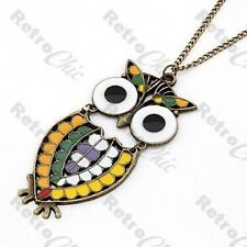 MULTI COLOUR MOSAIC OWL PENDANT long chain NECKLACE vintage brass RETRO boho BIG