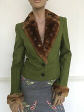 JOHN GALLIANO Vintage Green Wool Orylag Rabbit Fur Collar Short Jacket Fr40 UK12