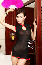 Women's Sexy Lingerie black Lace Dress Underwear Babydoll Cheongsam+G-string