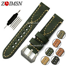 Watch Band Strap THICK Green Genuine Leather Stainless Steel Buckle Mens 24mm