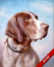 GERMAN SHORTHAIRED POINTER DOG PORTRAIT PAINTING PET DOG ART REAL CANVAS PRINT