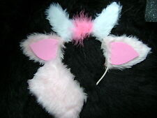 Pink Goat Ears And Tail Set Fancy Dress Goat Ears Costume Pink Faux Fur Dress Up
