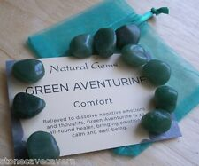 GREEN AVENTURINE TUMBLESTONES 12mm/14mm -  PACK 10 STONES WITH CARD & POUCH
