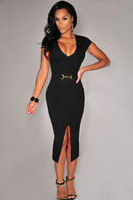 Sexy Black Belted Bodycon Midi Club Dress deep Plunge V-Neck Front Slit 60621