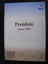 0203) DAL-BO Landmaschinen Bodenbearbeitung - Preisliste Prospekt Brochure 2002