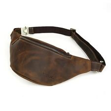 Men's Retro Leather Small Bag Security Waist Pouch Sports Belt Bumbag