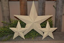 "SET/3 12"" 6"" AGED ANTIQUE WHITE BARN STARS Metal Tin  Primitive Country Rusty"