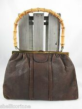 STUNNING WOMENS TRUE VINTAGE BROWN REAL LEATHER BAMBOO HANDLE HANDBAG BAG