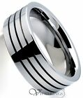 Tungsten Carbide Wedding Band Triple Grooves Ring 8mm Size 7.5 to 14.5