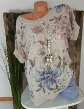 NEU ITALY OVERSIZED SOMMER VINTAGE BLUSE SHIRT �� FLOWERS PRINT�� NATUR 38-44