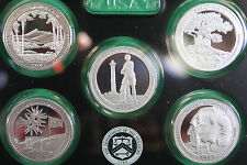 2013 America the Beautiful Quarters Silver Proof 5 ATB Coins ONLY Acrylic Holder
