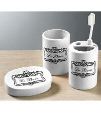 "SET OF 3 ""LE BAIN"" French Style Bathroom Set Tumbler Soap Dish Toothbrush Holder"