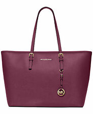 MICHAEL KORS Jet Set Medium Multifunction Saffiano Top Zip Travel Tote PLUM NWT