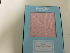 New Bubba Blue Vintage Knit Cot Baby Blanket in Gift Box Pink